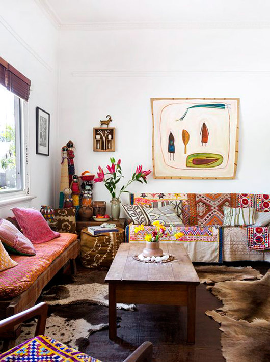 bright and eclectic living room with bohemian decor / sfgirlbybay