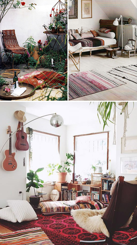 spaces with cozy bohemian vibe and vintage furnishings / sfgirlbybay