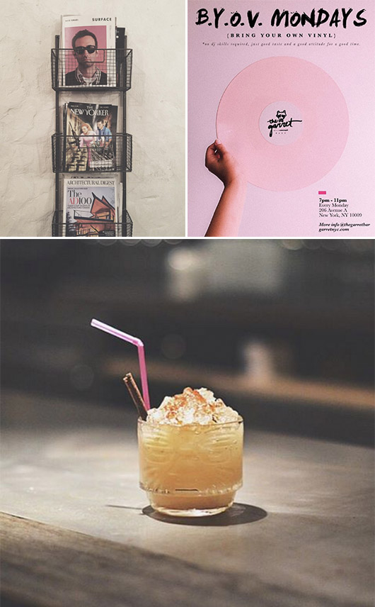 collage of magazine rack photo and poster with a pink record and a garett east cocktail / sfgirlbybay