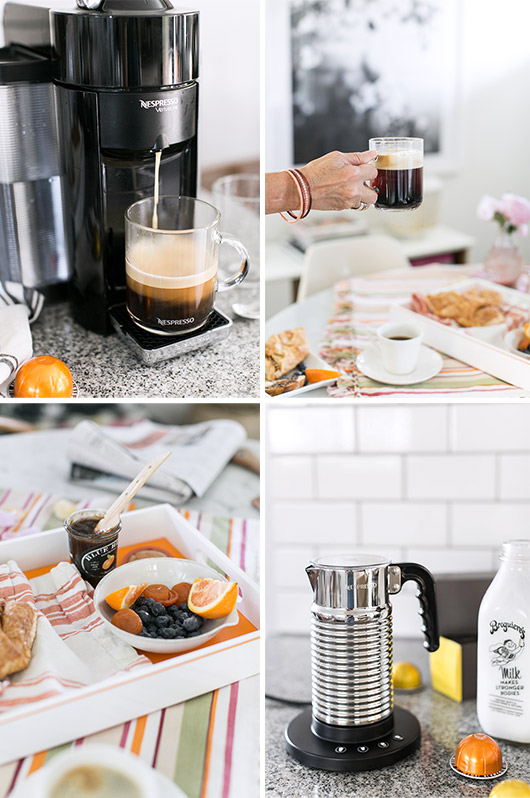 nespresso coffee machine in modern kitchen with breakfast spread of foods and decor / sfgirlbybay