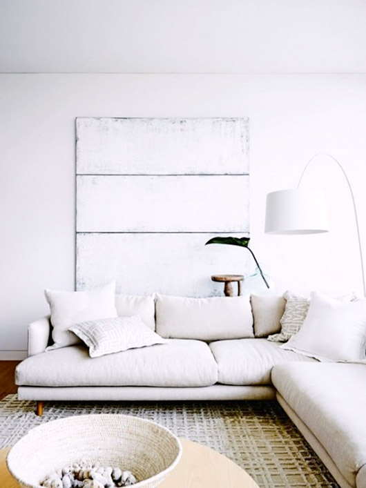 white wall decor and white home furnishings with modern white oversized lamp / sfgirlbybay
