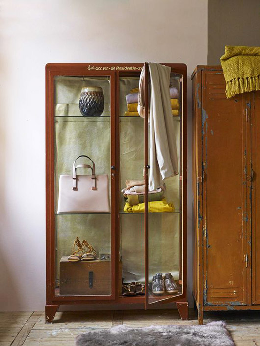 matching vintage metal locker and glass front cabinet / sfgirlbybay