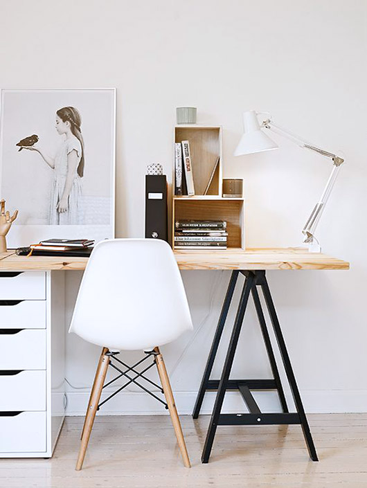 wood desk table top with black saw horse leg and white filing cabinet / sfgirlbybay