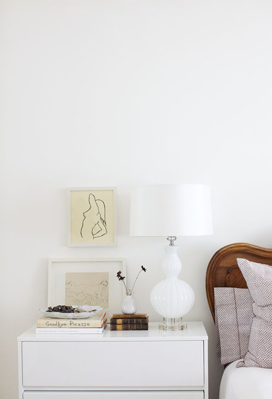 white lamp and nightstand with framed art prints / sfgirlbybay