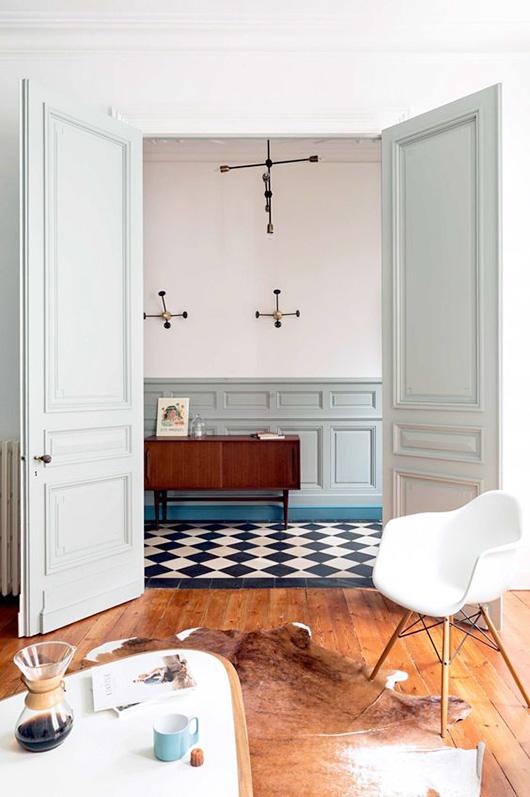 black and white harlequin tile floors / sfgirlbybay