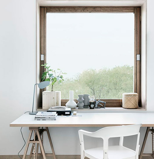 white desk with saw horse base and white chair / sfgirlbybay