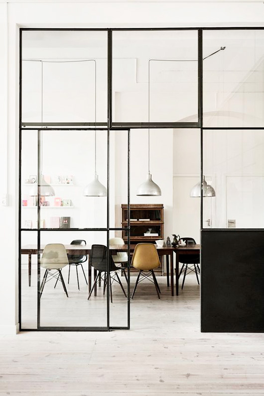 dining area with doors with black framed window casings / sfgirlbybay