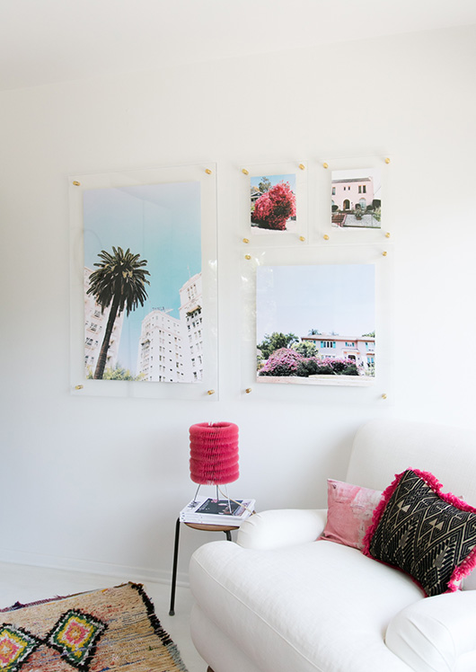 home office gallery wall of float frames with brass bolts / sfgirlbybay