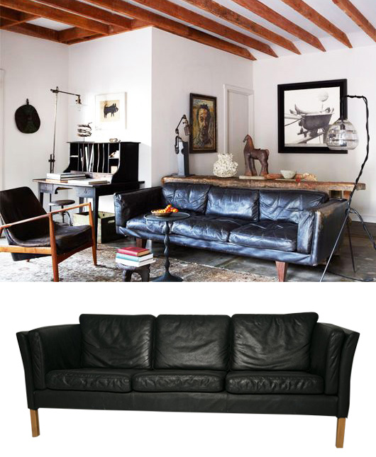 how to style a black leather sofa / sfgirlbybay
