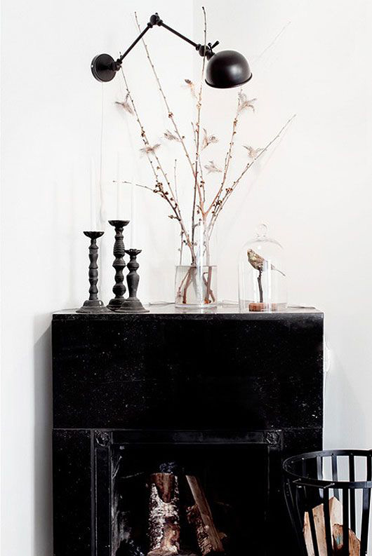 tasteful seasonal decor with black cabinet / sfgirlbybay