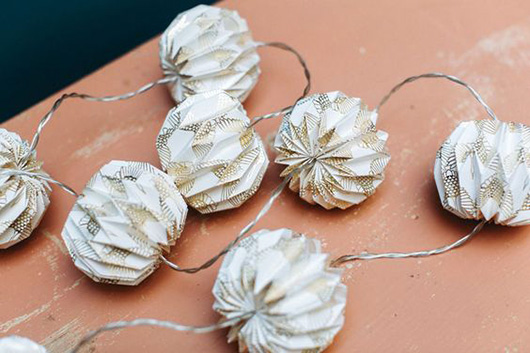gold and white tiny paper lantern string lights / sfgirlbybay