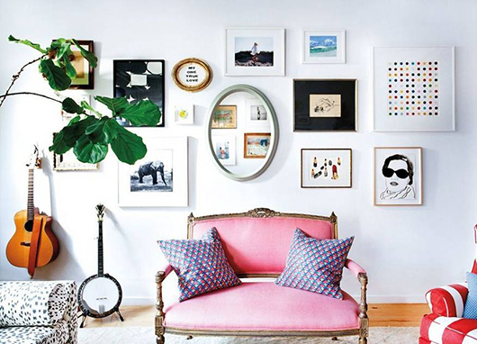 art gallery wall inspiration via kate shelter's home tour in domino. / sfgirlbybay