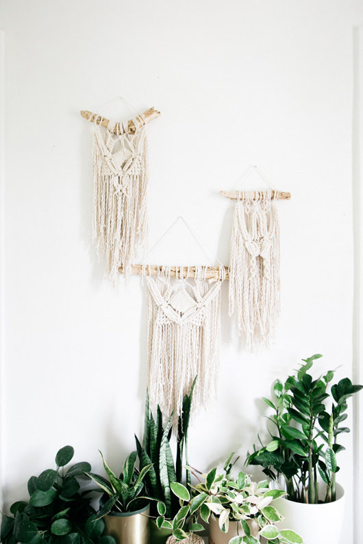 wall weavings by lark and arrow on wood branches / sfgirlbybay
