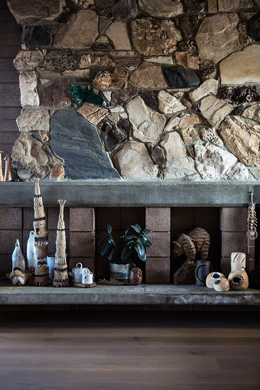 exposed rock wall inside tracy wilkinson's home in l.a. / sfgirlbybay