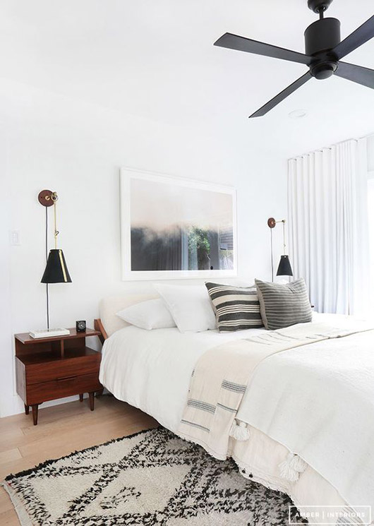 black and white bedroom decor with moroccan vibes by amber interiors. / sfgirlbybay