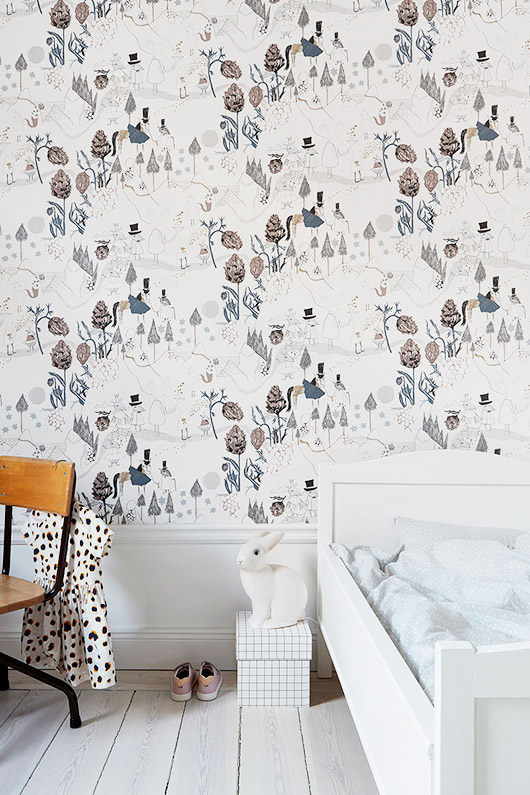 whimsical wallpaper in child's bedroom via fantastic frank. / sfgirlbybay