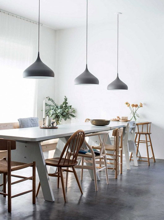 gray pendant lamps in scandinavian inspired kitchen. / sfgirlbybay