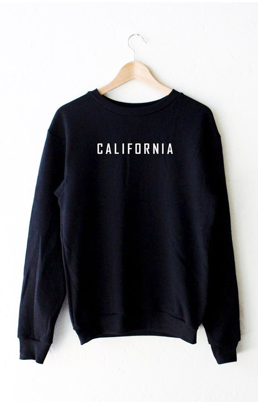 black and white california swearshirt. / sfgirlbybay