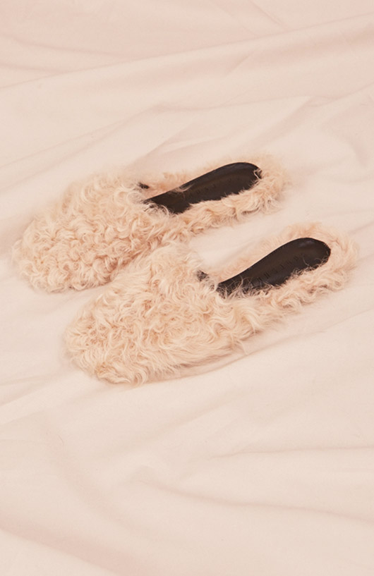 furry pink slippers. / sfgirlbybay