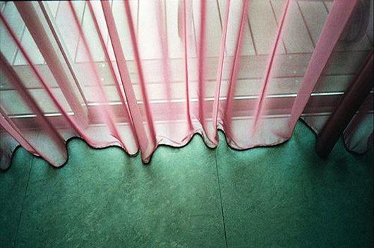 pink sheer curtains with green floors. / sfgirlbybay
