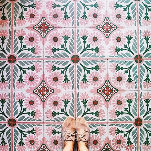 pink and green patterned floor tiles. / sfgirlbybay