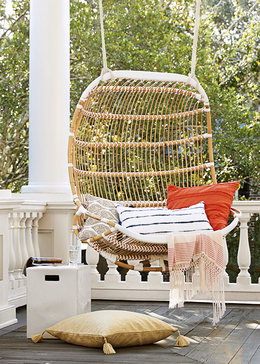 serena & lily double-hanging rattan chair. / sfgirlbybay