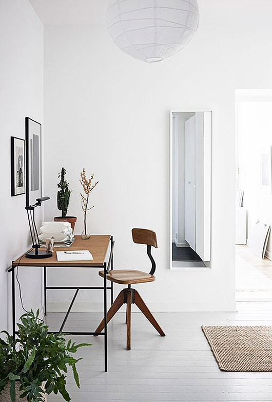 work space with white walls and floors. / sfgirlbybay