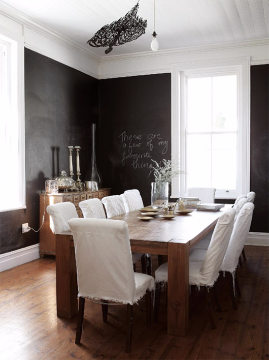 black and white formal dining room in est magazine. / sfgirlbybay