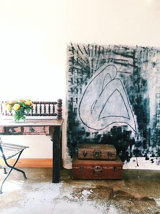 black and white art in minimalist space. / sfgirlbybay