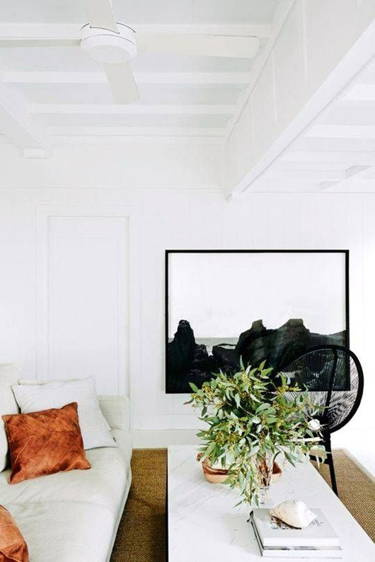 modern minimalist living room with black and white art. / sfgirlbybay