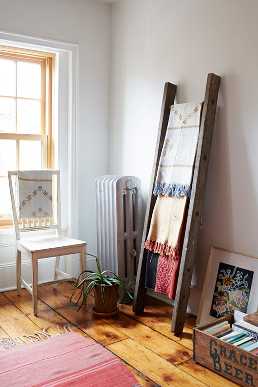 rustic wood ladder with fringe throws. / sfgirlbybay