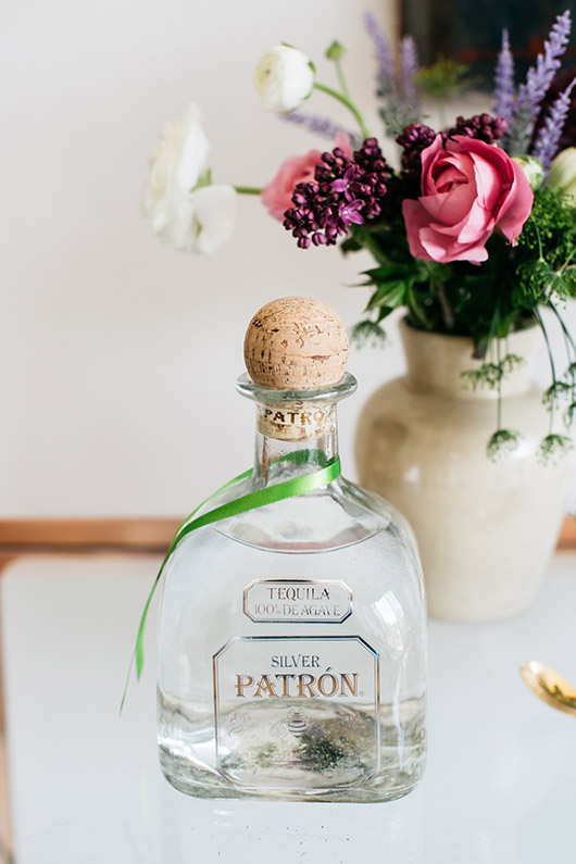 Patron silver bottle with green ribbon. / sfgirlbybay