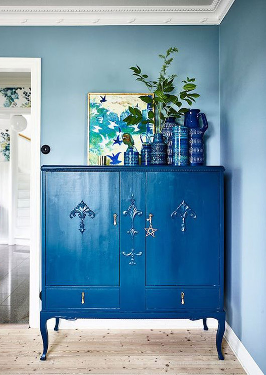 blue painted cabinet. / sfgirlbybay