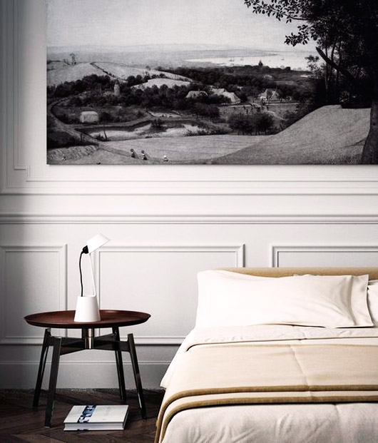 black and white mural above neutral bed. / sfgirlbybay