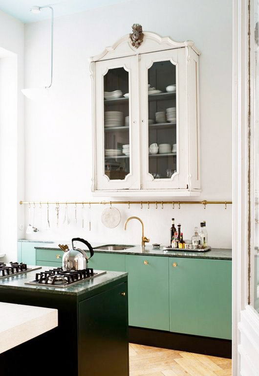 green kitchen cabinets. / sfgirlbybay