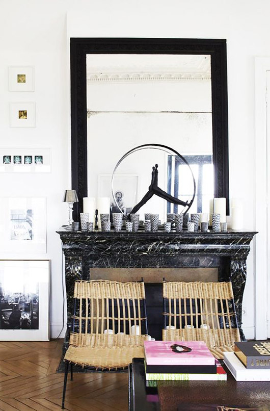 black and white mantel decor in modern living room. / sfgirlbybay