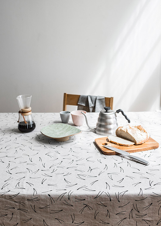 black and white tablecloth and pastel dishware via fine little day. / sfgirlbybay