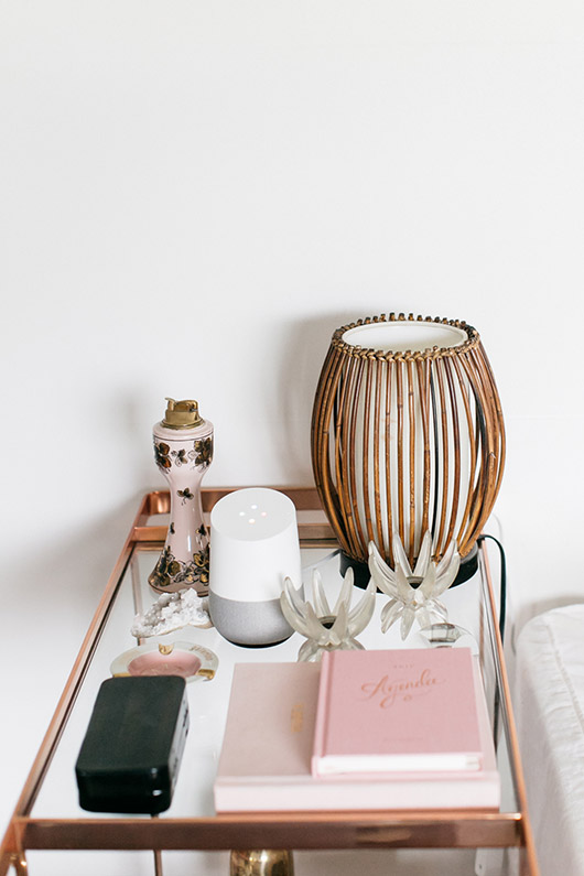google home on rose gold barcart. / sfgirlbybay