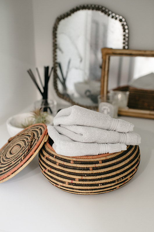 woven rope basket for hand towels. / sfgirlbybay
