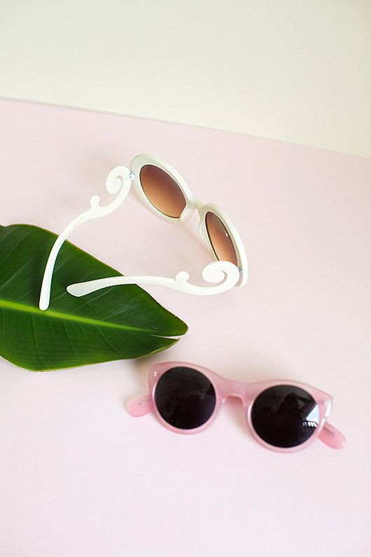 pink and white sunglasses styled to sell on ebay. / sfgirlbybay