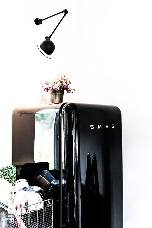 black smeg fridge. / sfgirlbybay