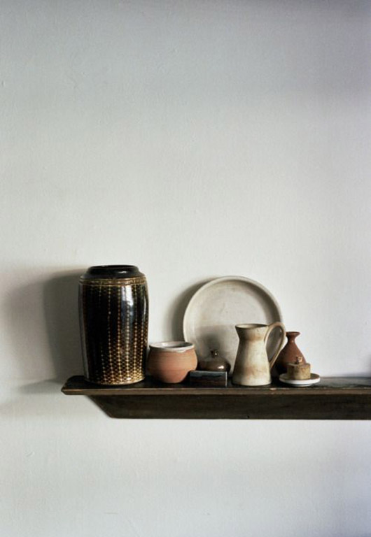 ceramics on wood shelf. / sfgirlbybay