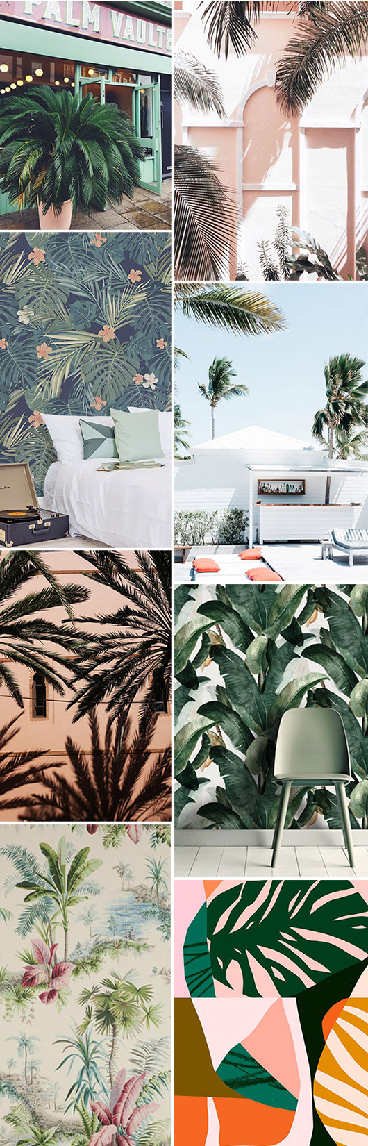 green palm leaves and pink walls. / sfgirlbybay