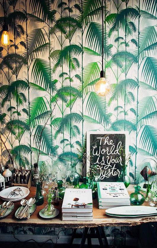 nude and green palm print wallpaper. / sfgirlbybay