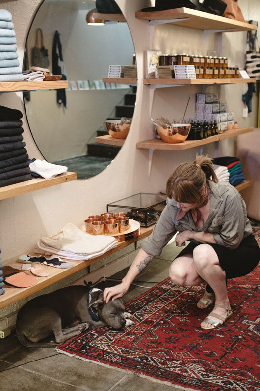 belljar store owner and shop dog in los feliz. / sfgirlbybay