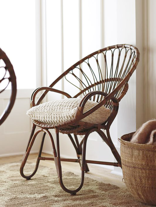 dark stained rattan chairs with throw pillow. / sfgirlbybay