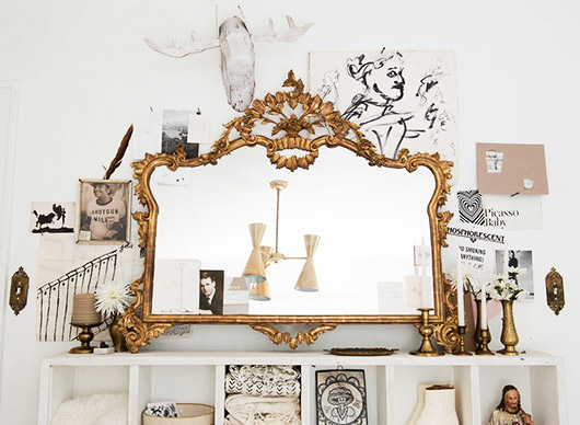 curated collection with baroque gold mirror. / sfgirlbybay