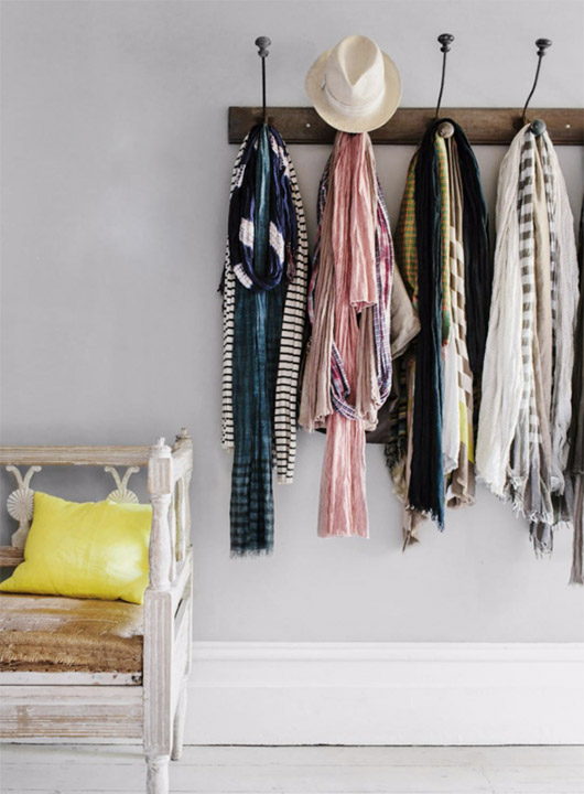 scarves hanging on rack in issue 25 of EST magazine. / sfgirlbybay