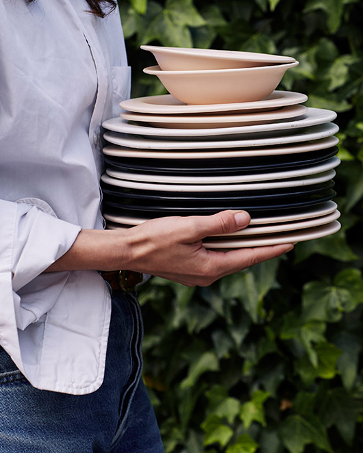 pale pink and white and black ceramic dishes. / sfgirlbybay