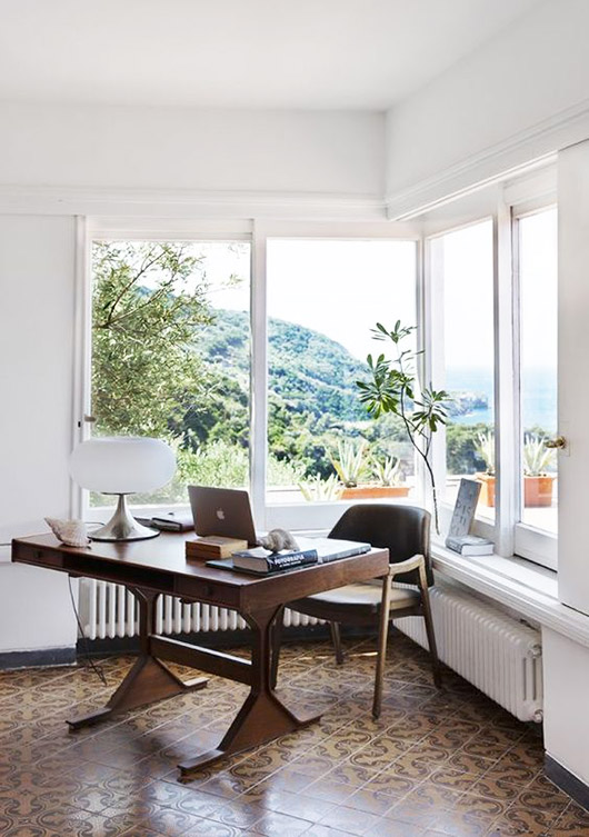 sunny mid-century modern workspace at home. / sfgirlbybay